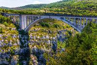 The bridge over the mountain canyon Verdon