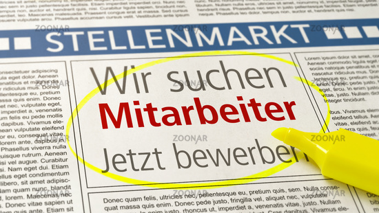 Job ad in a newspaper - We are hiring - Wir suchen Mitarbeiter (German)