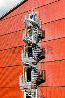 spiral staircase on a modern building