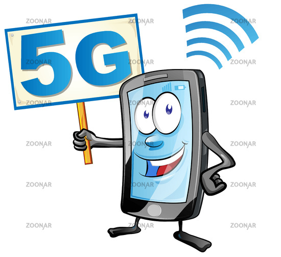 smartphone cartoon with signboard 5G icon. clipart vector illustration