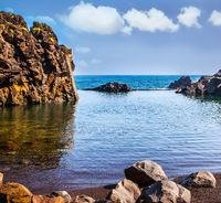The stony shore of the Atlantic ocean