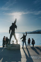 Montreux, VD / Switzerland - 31 May 2019: tourists visiting the Freddie Mercury Memorial Statue on t