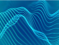 3D visualization of sound waves. Big data or information concept: Turquoise chart.