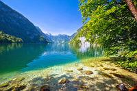 Konigssee Alpine lake idyllic coastline cliffs view