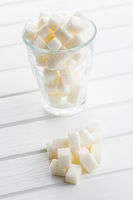 White sugar cubes.