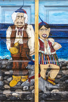 man and woman, sea, painted front door, Funchal, Madeira, Portugal, Europe