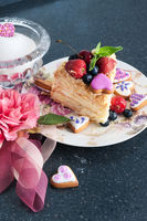 piece of cake napoleon on plate