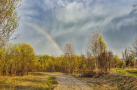 Amazing early spring landscape with rainbow over country road
