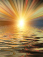 Soft and blurred colorful surface of water rippled reflection and sky background