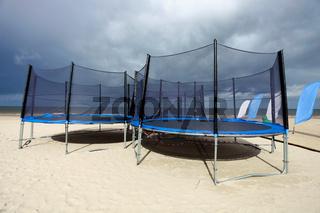 Trampolines in beach