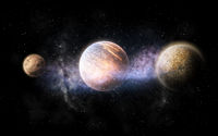 planet and stars in space