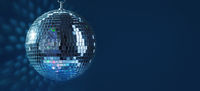 Abstract Design of Party Disco Ball on Blue Background