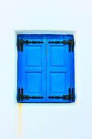 Window painted in blue color