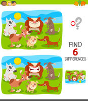 finding differences game with dogs group