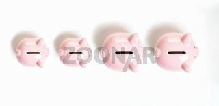 topview of piggy bank or piggybank family