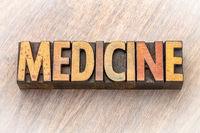 medicine - word asbtract in wood type