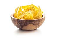 Corn nacho chips. Yellow tortilla chips in bowl.