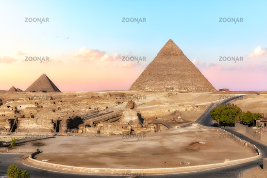 The Shpinx and the Pyramids, view from Giza hotel, Egypt
