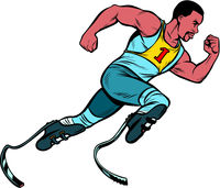 disabled African runner with leg prostheses running forward. sports competition