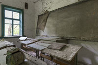 Abandoned school house in the exclusion zone of Chernobyl in Belarus (White-Russia)