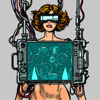 cyberpunk female robot wearing virtual reality glasses