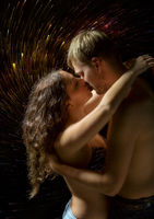 Naked lovers kissing each other with passion