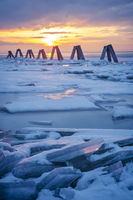 Ice on the lake at sunset