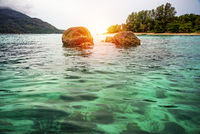 Sunrise over the sea at North Point Beach, Koh Lipe , Thailand