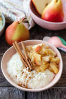 Rice pudding with apple compote