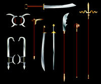 Chinese edged weapons - colored vector set on black background
