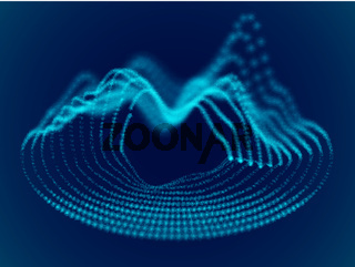 Abstract background with dynamic 3d sound waves.