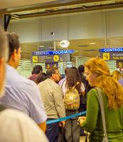 People queue  airport passport control
