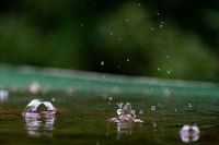 close up of raindrops splattering on a green table