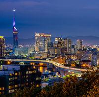 Fukuoka cityscape kyushu sunset