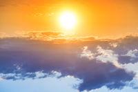 Sunset in the orange sky