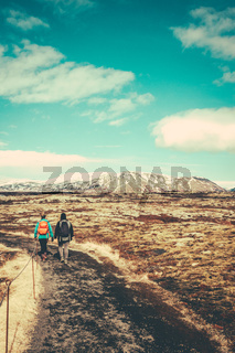 Two Women Hiking In Iceland