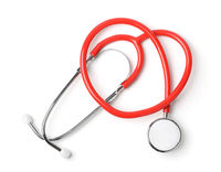 Top view of red medical stethoscope