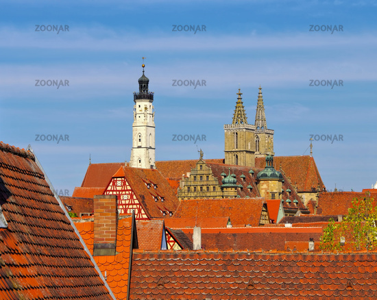 Rothenburg Blick ueber die Daecher - Rothenburg town view over the roofs