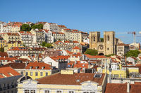 Lisbon Portugal, aerial view city skyline at Lisbon Baixa district