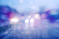 Road view in heavy rain.