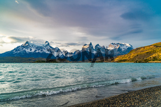 View of Cuernos del Paine mountains and Pehoe Lake in the evening