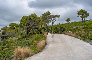 Narrow paved road on Zante Island