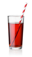Front view of cherry juice glass with straw