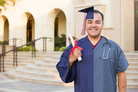 Split Screen of Hispanic Male As Graduate and Nurse On Campus or At Hospital