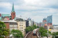 Metro train by Hamburg embankment