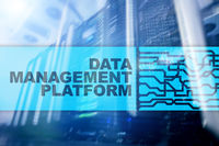 Data management and analysis platform concept on server room background.