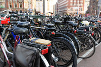 A lot of bicycles in a typical Amsterdam bike parking