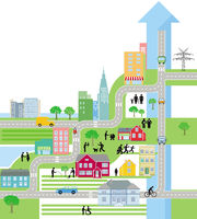 City City Map, Life in the city - Vector Illustration