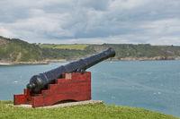 Memorial cannon in Tenby, Wales, UK.