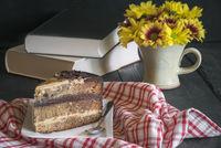 Slice of caramel and chocolate cake